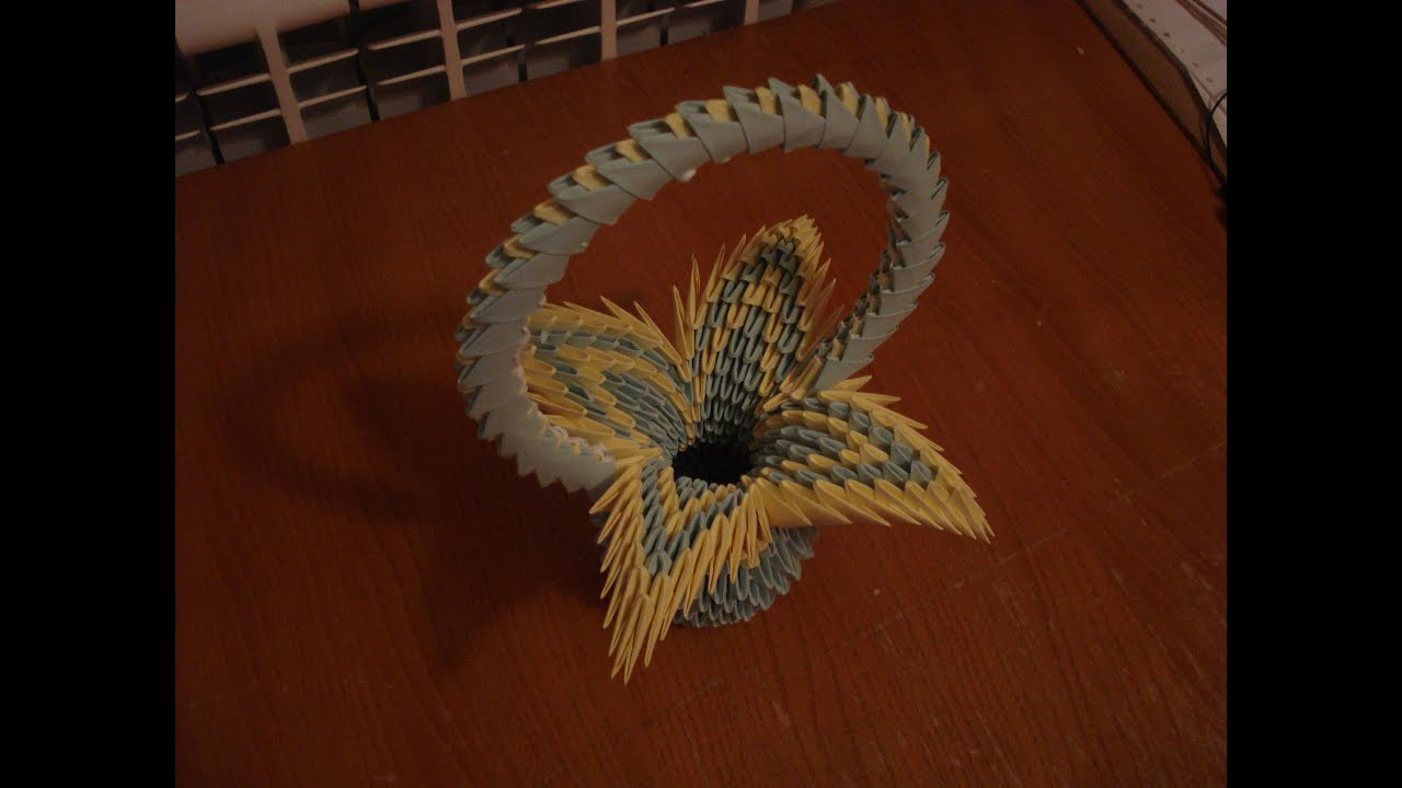 3D Origami Flower Basket Tutorial 2