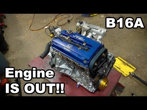 Pulling The B16A Out Of The Civic | DC2 Integra Build