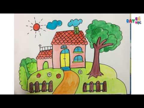 Hướng dẫn cách dạy bé học tập vẽ phong cảnh ngôi nhà của bé | Dạy bé học