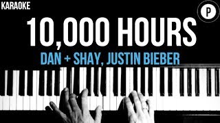 Gambar cover Dan + Shay & Justin Bieber - 10000 Hours Karaoke SLOWER Acoustic Piano Instrumental Cover Lyrics