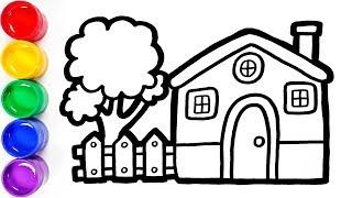 Cara Menggambar dan Mewarnai Rumah untuk Anak | How to Draw and Color a House