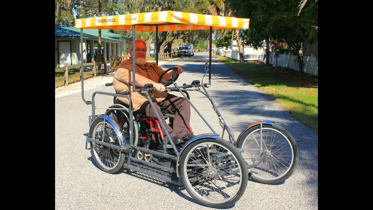 Four Wheel Electric Wheelchair Carrier Bike - YouTube
