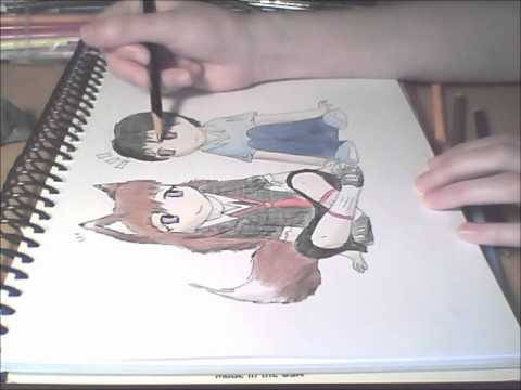 how to draw anime wolf girl