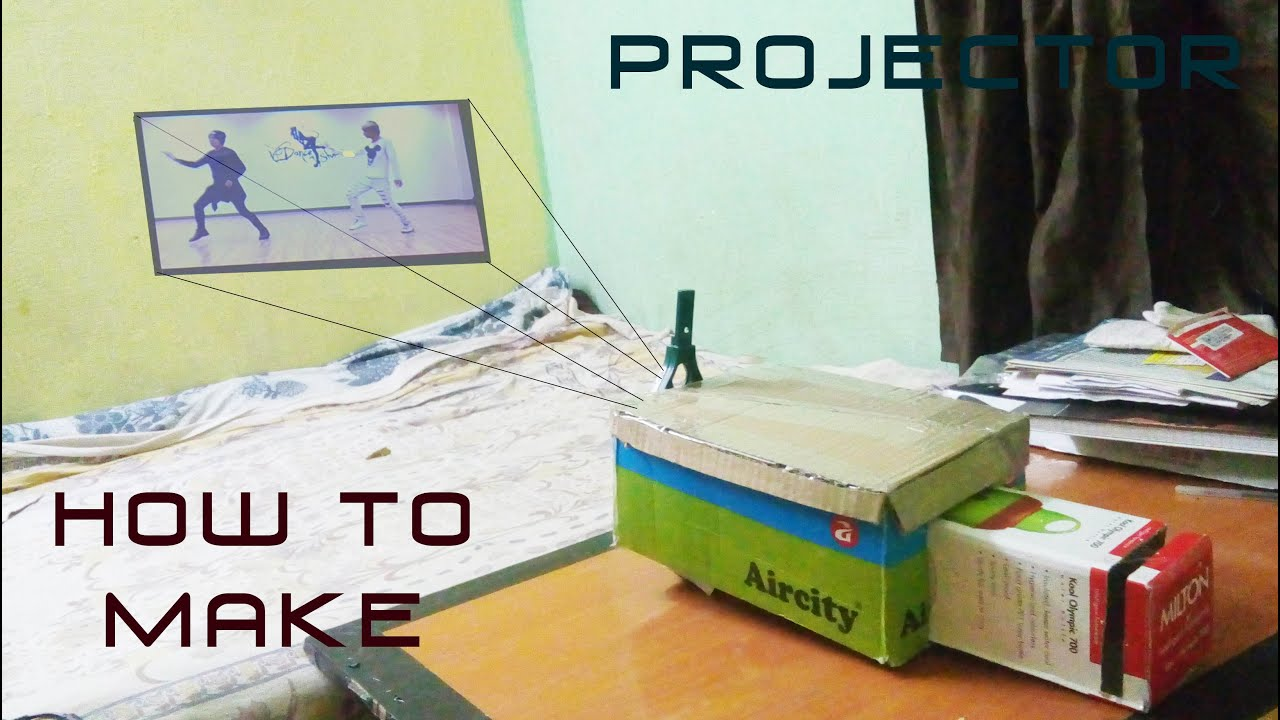 How to make mobile projector at home with a box youtube for How to make mobile projector