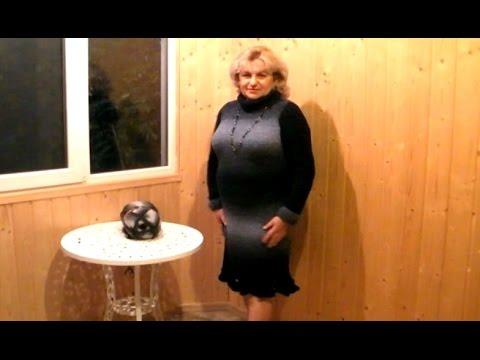 вяжем спицами платье из буклированой секционной пряжи часть 1 Youtube