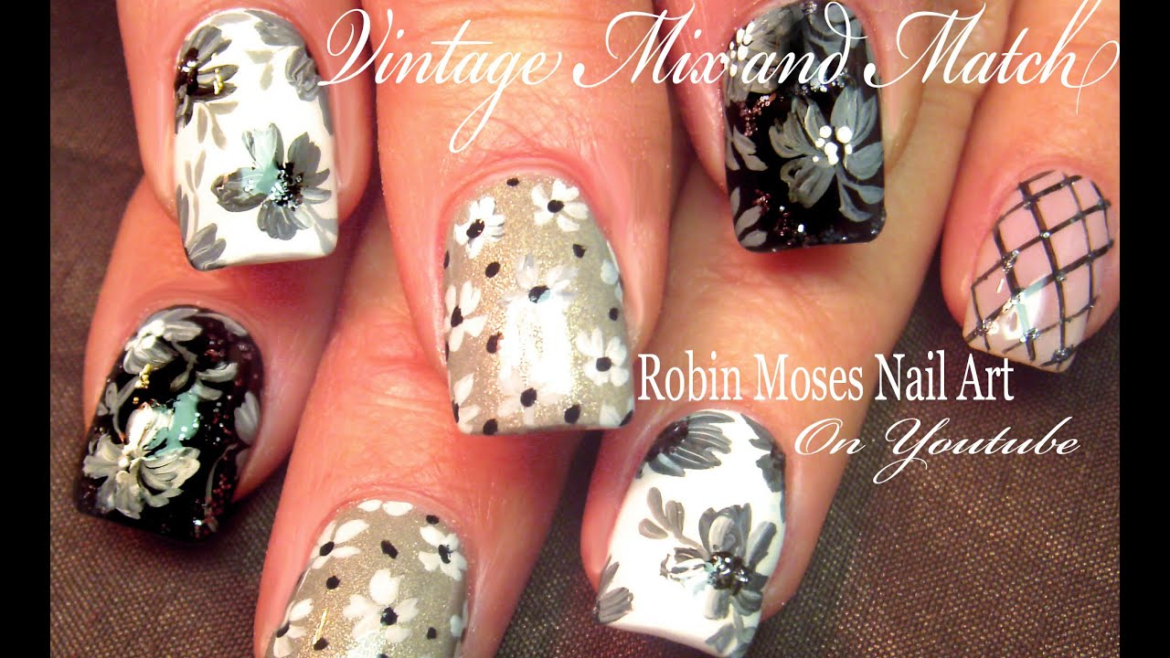 Vintage Grey Mix & Match | 5 Black White and Gray Flower Nail Art ...
