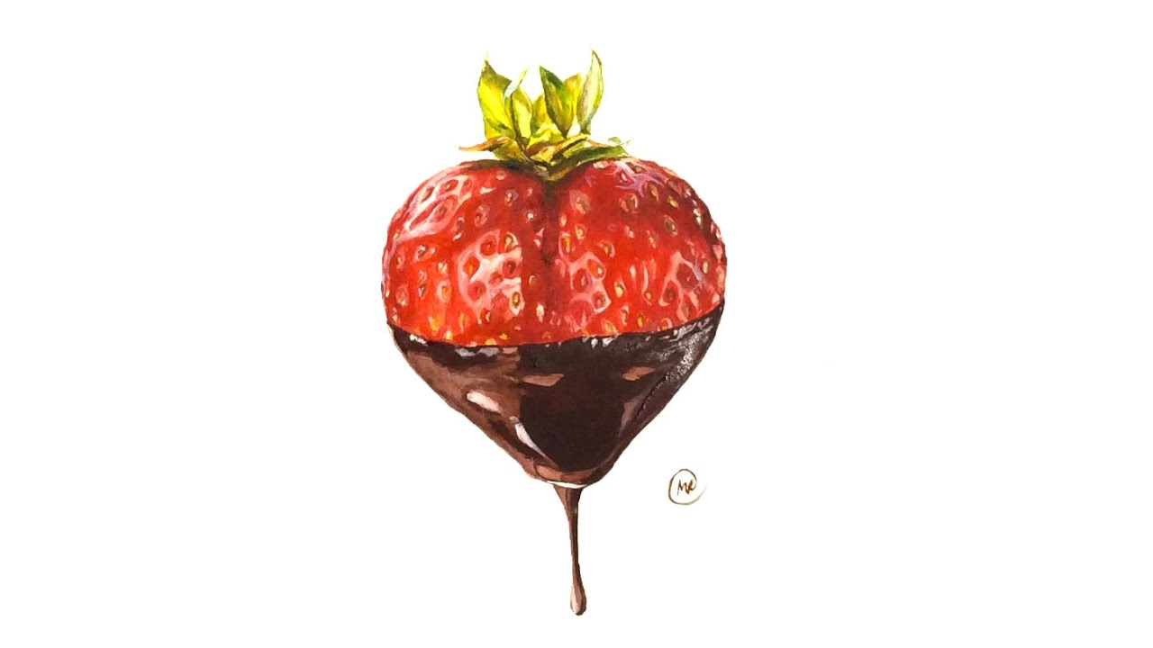 Watercolor Chocolate Dipped Strawberry Painting