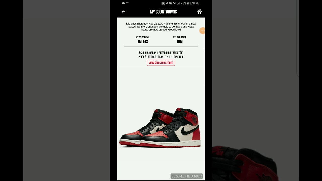 on sale 7d1c4 8b9a3 Dramatic Bred Toe Footlocker and Footaction app countdown! Did we win!