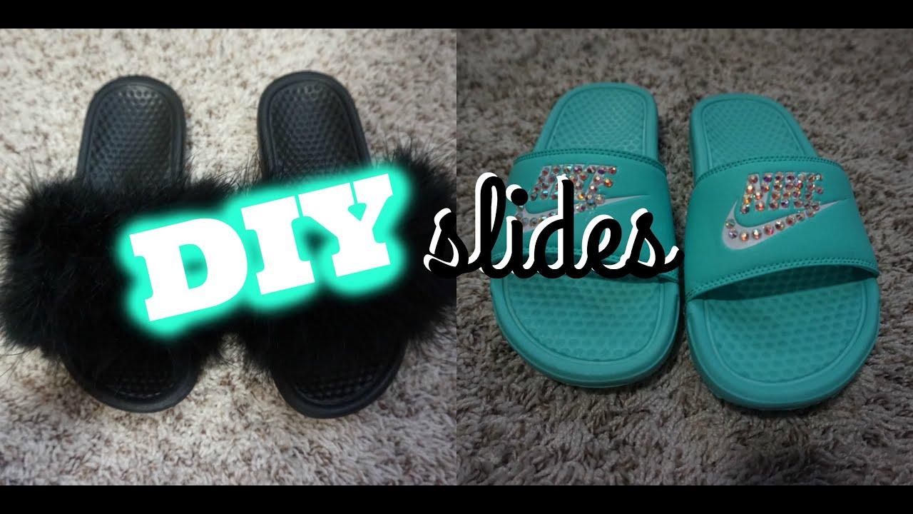 b772d40a4915 DIY  Bling   Faux Fur Nike Slides - YouTube