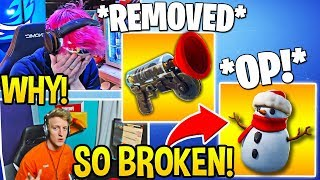 """STREAMERS USE *NEW* """"SNEAKY SNOWMAN"""" and REACT TO """"GRAPPLER"""" VAULTED! - Fortnite FUNNY Moments"""