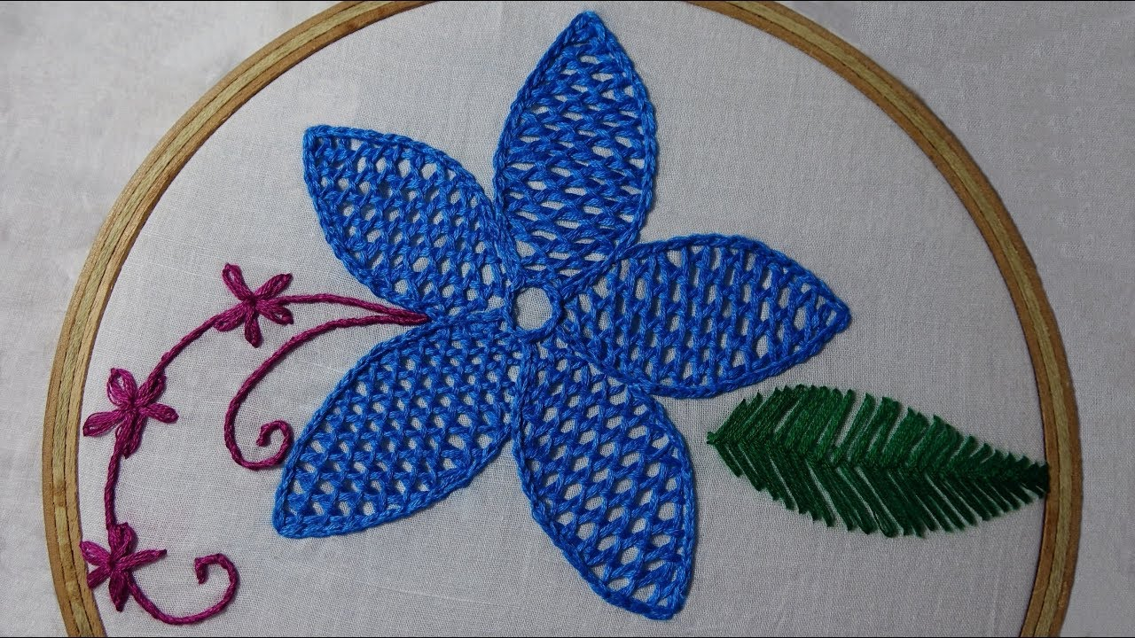 Hand Embroidery Design Of Net Stitch Youtube