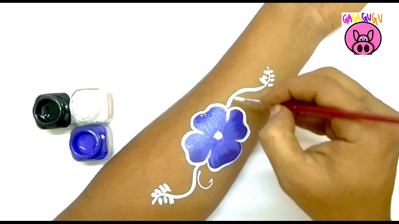 Drawings for kids / blue flower tattoo/tattoo for kids/temporary ...