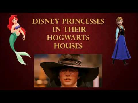 Disney Princesses in their Hogwarts Houses