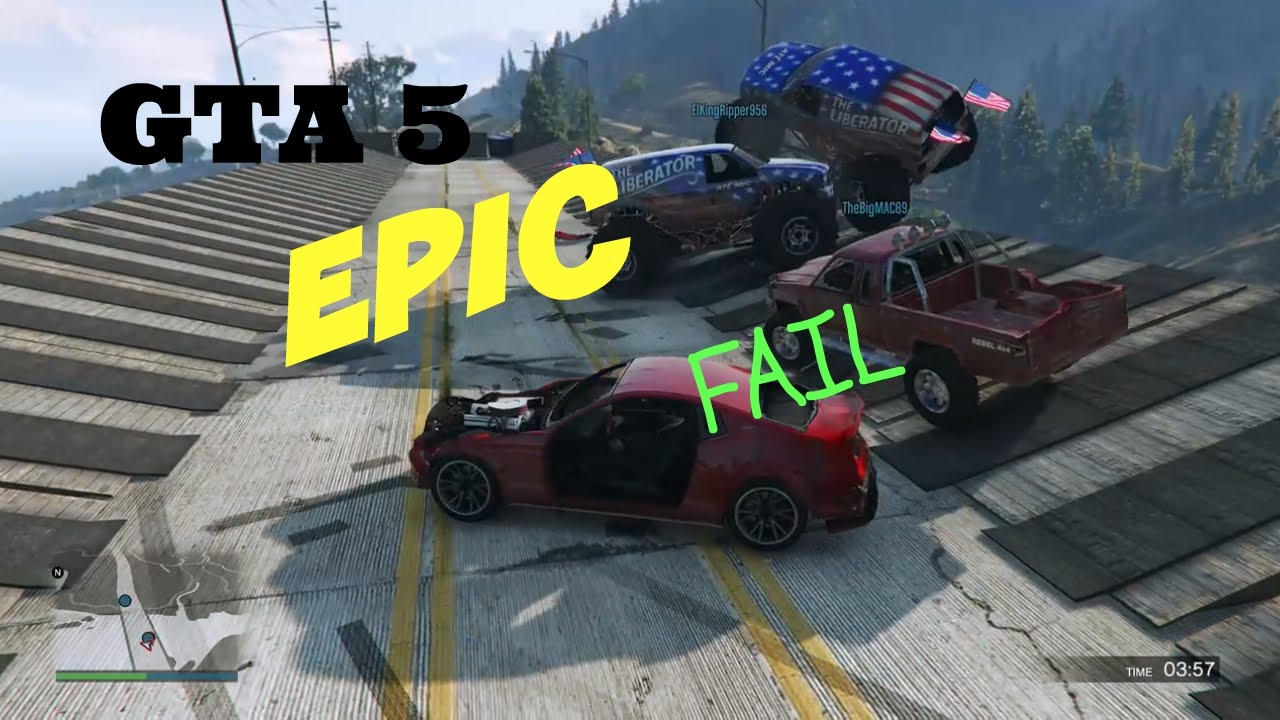 Xbox One Gta 5 Online Multiplayer Bumper Cars Off A Bridge Thinking