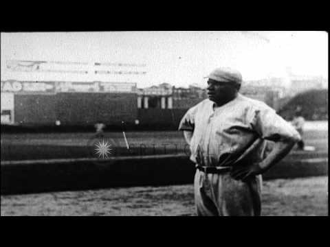 Babe Ruth breaks baseball home run records in Boston, Massachusetts. HD Stock Footage