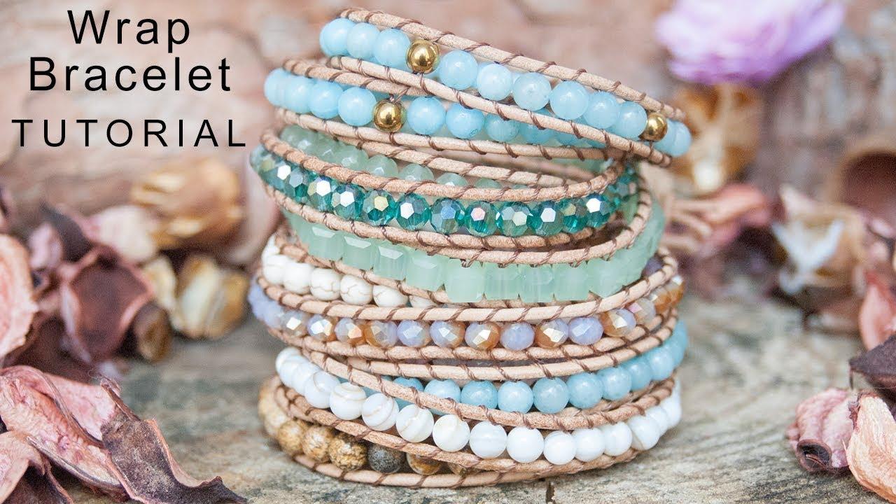 Single Leather Wrap Bracelet With Gemstone Beads Tutorial