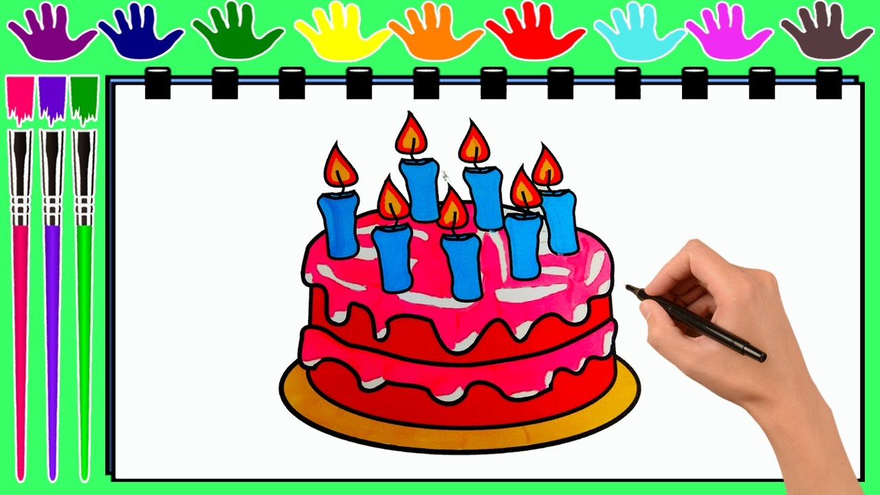 coloring pages birthday cake drawing pages to color for kids by