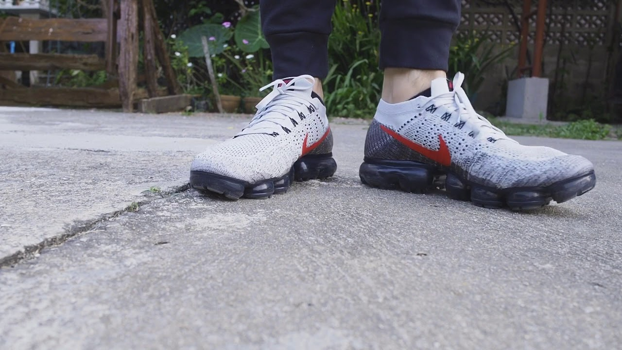 26bff257f4cfd Nike Vapormax Pure Platinum   Red University on feet - YouTube