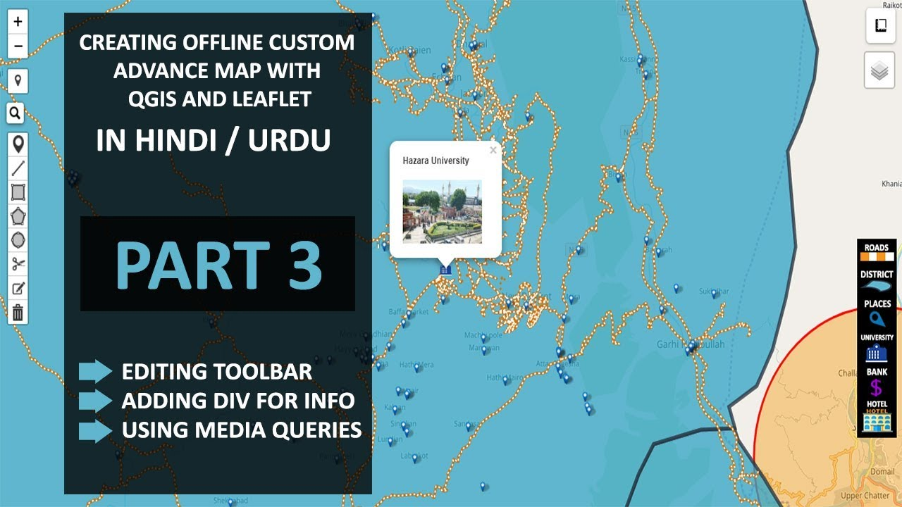 Developing Offline Custom Map - Part 3   Create advance Offline web Map in hindi - urdu