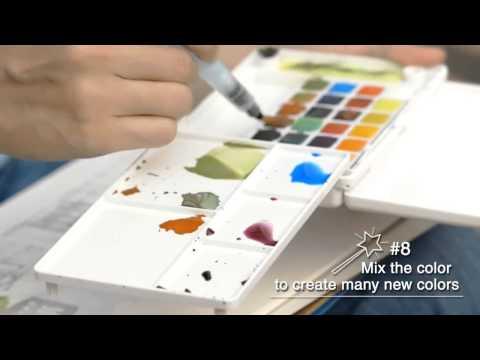 Estojo de Aquarela Koi Water Colors Portátil com Pincel Auto Umedecido - 12 cores