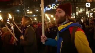 Ukrainians march to celebrate anniversary of nationalist hero