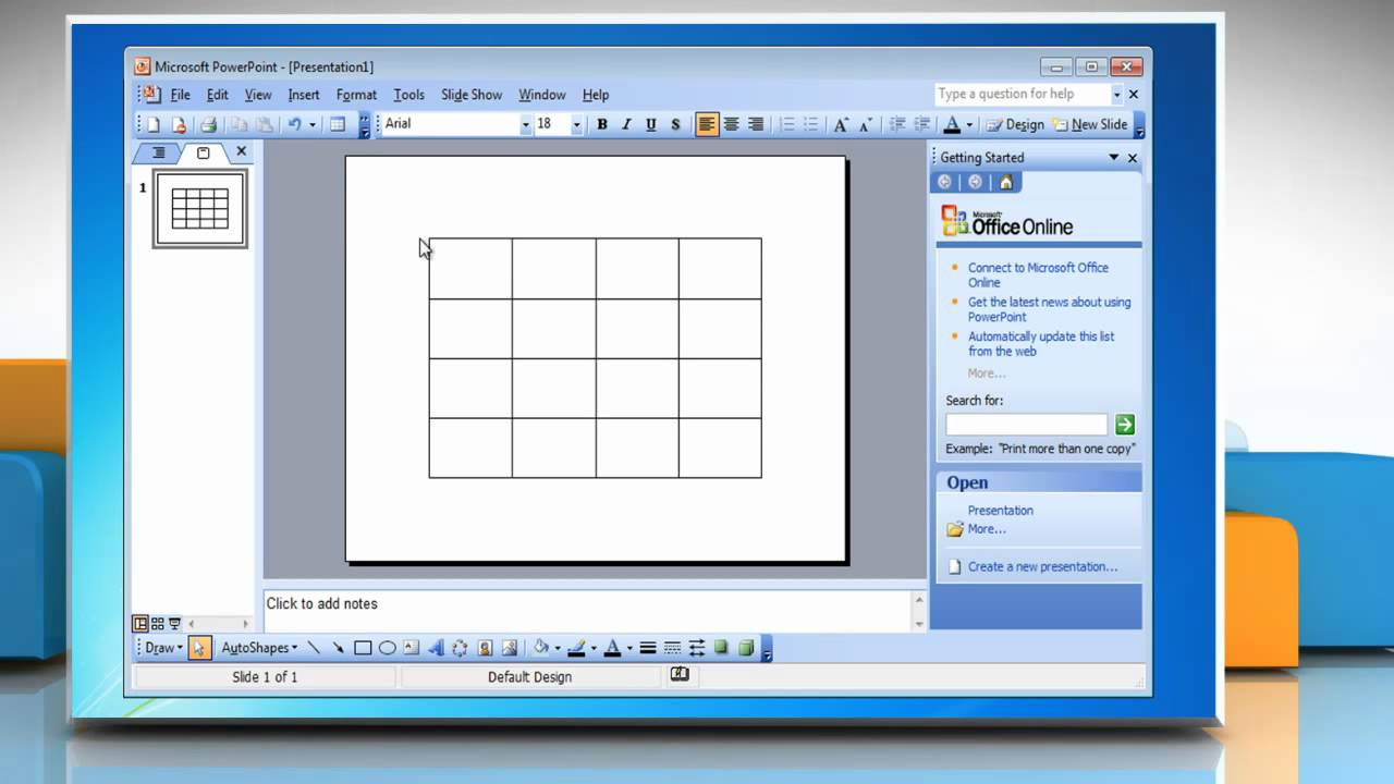 Microsoft� Powerpoint 2003: How To Insert A Table Presentation On Windows�  7?