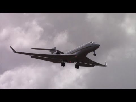 Various Business Jets landing at Barbados on RWY 09