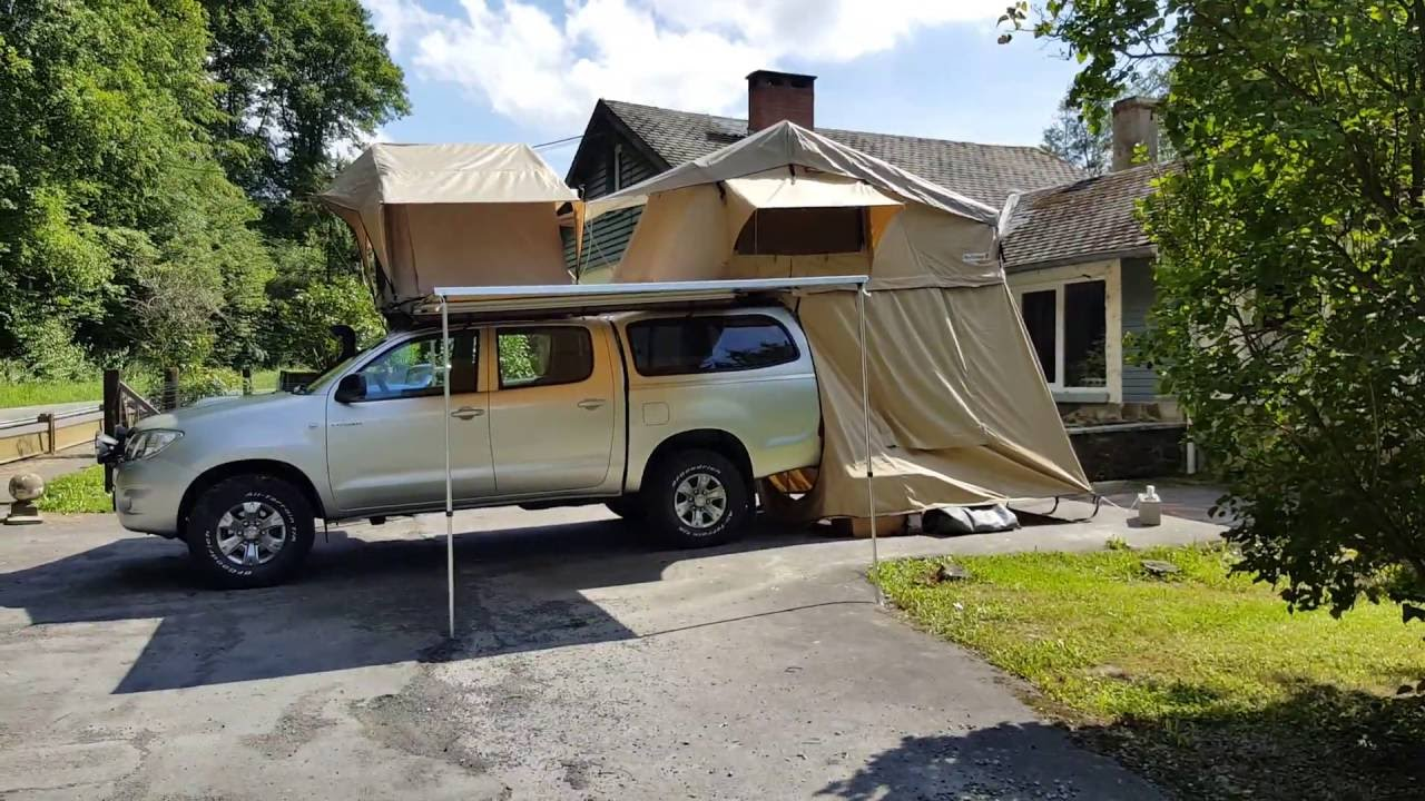 Toyota Hilux Front runner roof top tent and & Toyota Hilux Front runner roof top tent and - YouTube
