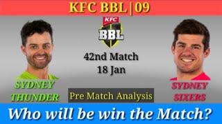 BBL: Match 42 - Sydney Thunder vs Sydney Sixers -Sydney Showground Stadium, Sydney -Match Prediction
