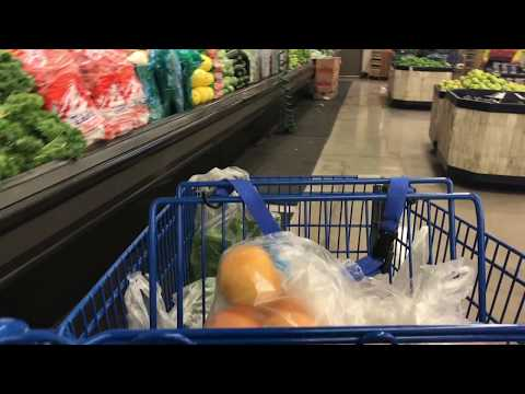 Moving Shopping Cart With Grocery Through Produce Aisle - Free Stock Footage