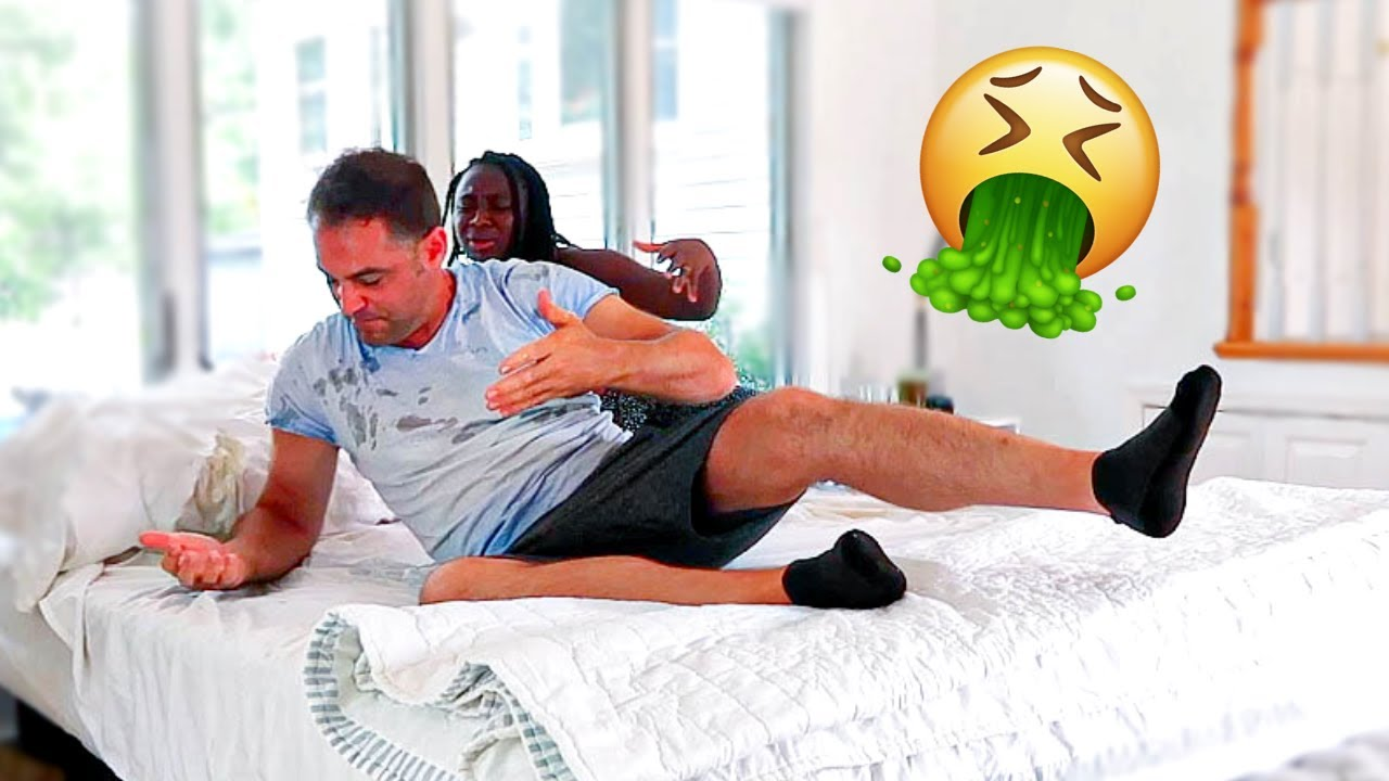 THROW UP PRANK ON HUSBAND!! (NOT SO CUTE REACTION)