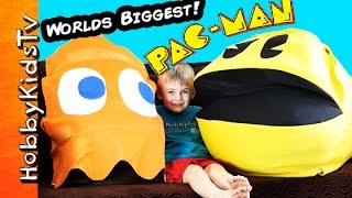 Worlds Biggest PAC-MAN Egg! Surprise Toys, Video Game Clyde Retro HobbyKidsTV