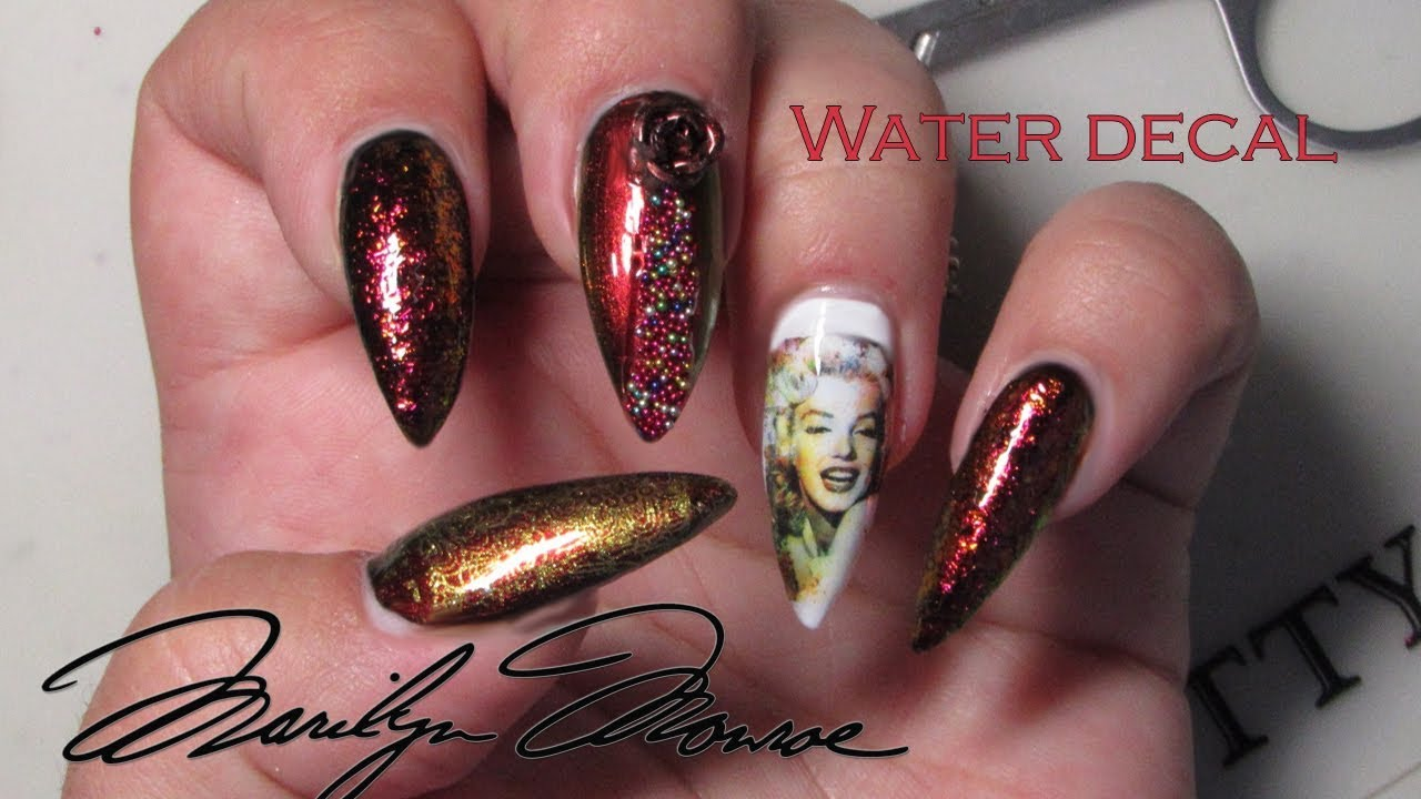 Marilyn Monroe nail design with Born pretty holographic nail polish ...