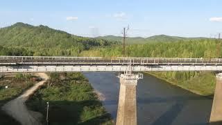 Вид из окна поезда   Река Амазар пгт. Амазар Забайкальский край