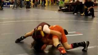 Girl youth wrestler at the wrestling tournaments.
