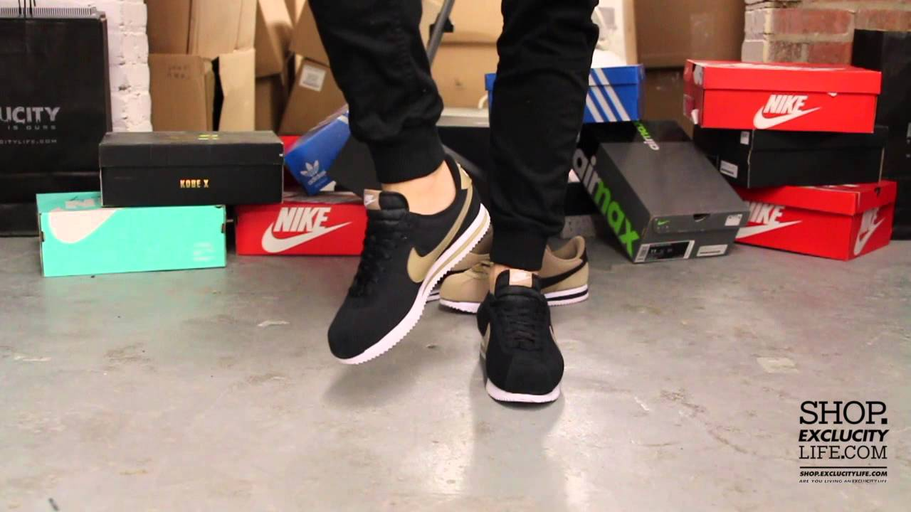 pretty nice 436a0 41754 ... new arrivals nike cortez premium qs baseball pack black on feet video  at exclucity youtube 71ee2