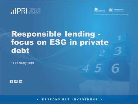 PRI: Responsible lending - Focus on ESG in private debt