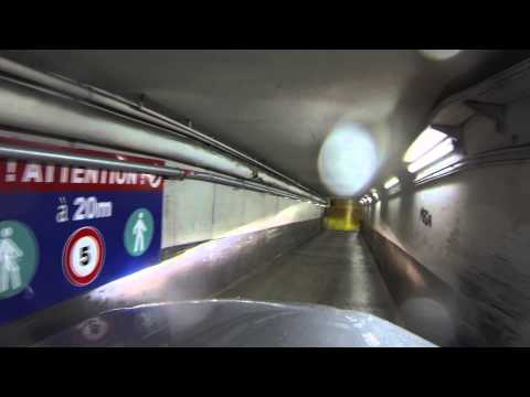 Going into a tight underground parking garage in Paris