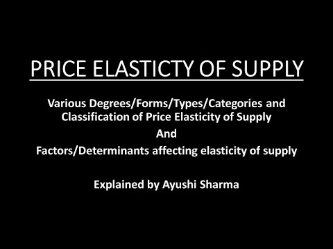 Elasticity Of Supply Degrees Types Of Supply Elasticity Importance Of Elasticity Of Supply Youtube