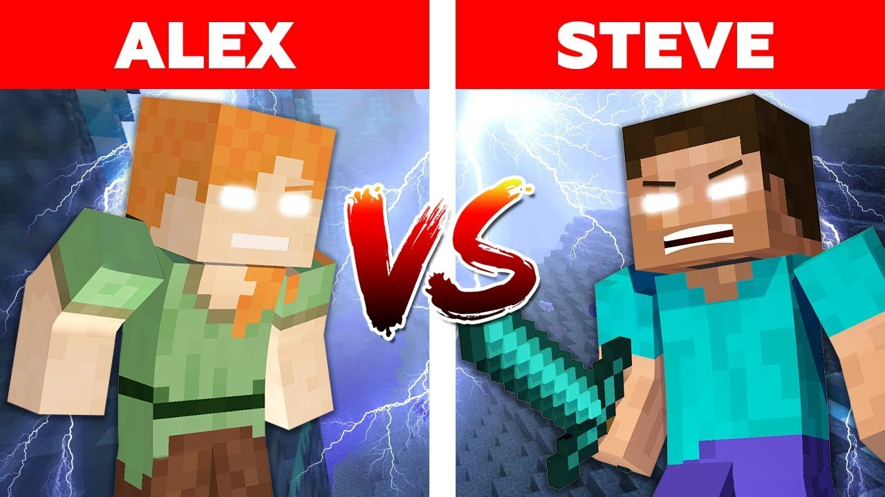 MINECRAFT - ALEX vs STEVE! HEROBRINE vs HEROBRINE IN BASIC CHALLENGE / Minecraft Animation part 5