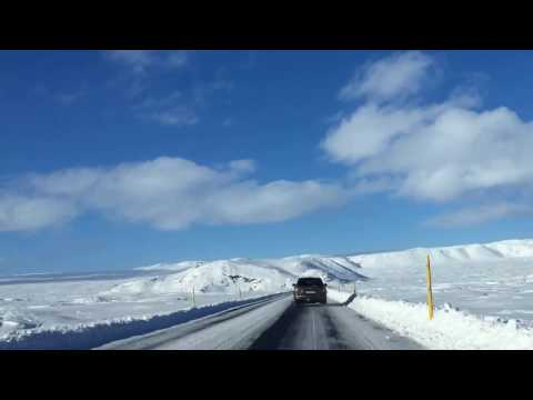 Driving from South Iceland to Reykjavík on a snow day
