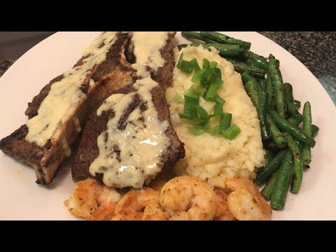 SHRIMP & STEAK DINNER | WITH GARLIC MASHED POTATOES (EASY & DELICIOUS DINNER RECIPE) 🍤😋🥩