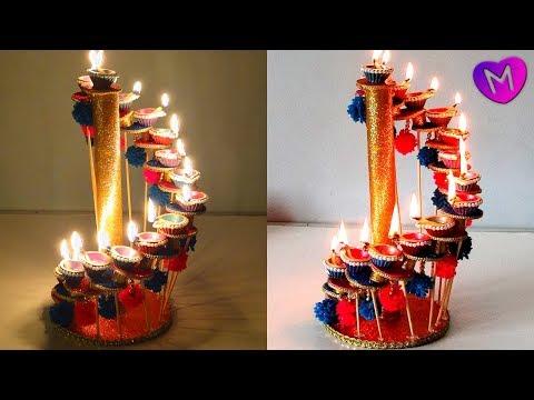 Diya  decoration at home | Diya stand for Diwali Room Decoration | Diwali Decoration 2018 !