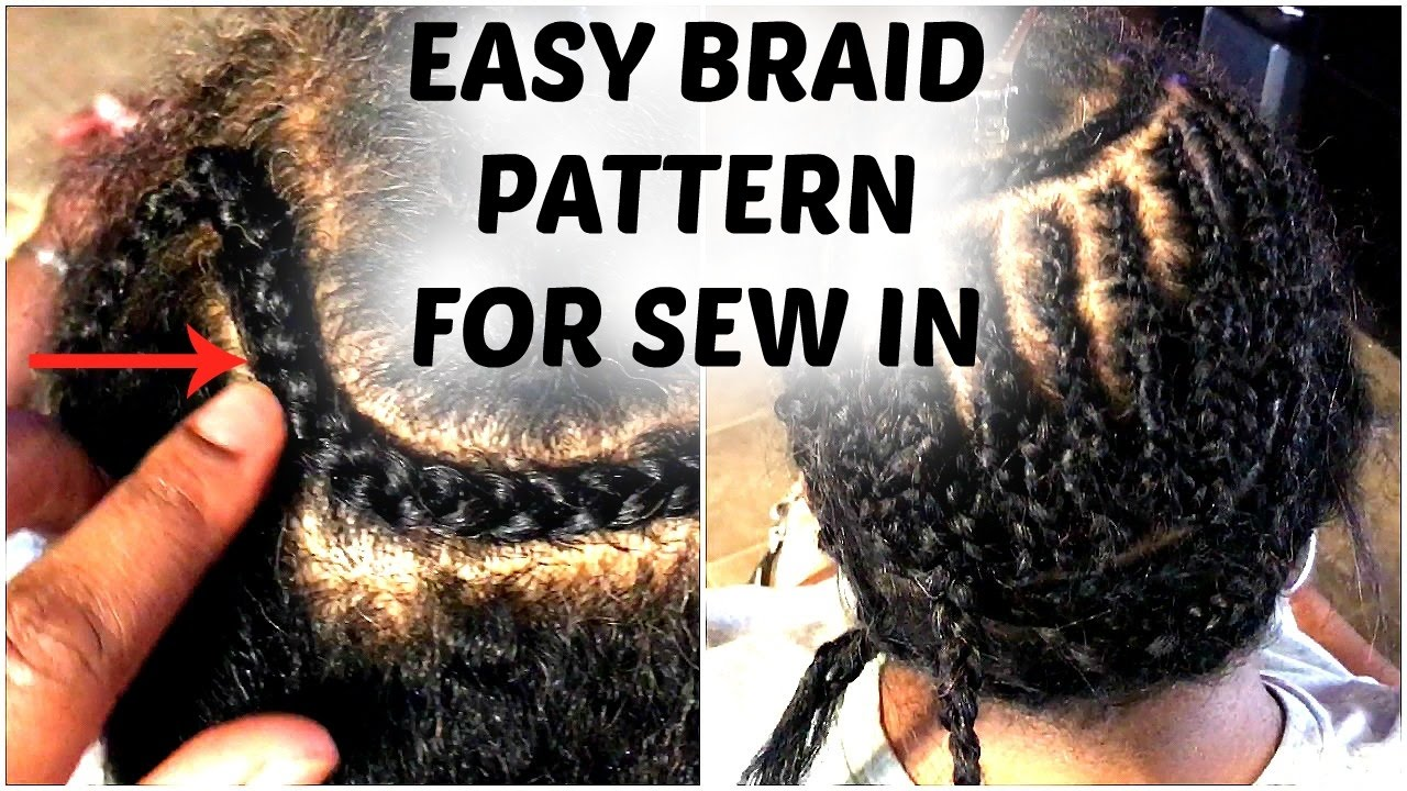 Middle Part Sew In Braid Pattern Cool Decorating Design