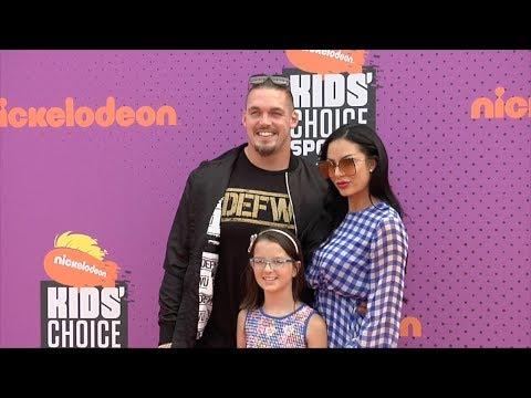 Derek Wolfe and Abbie Burrows 2017 Kids' Choice Sports Awards Orange Carpet