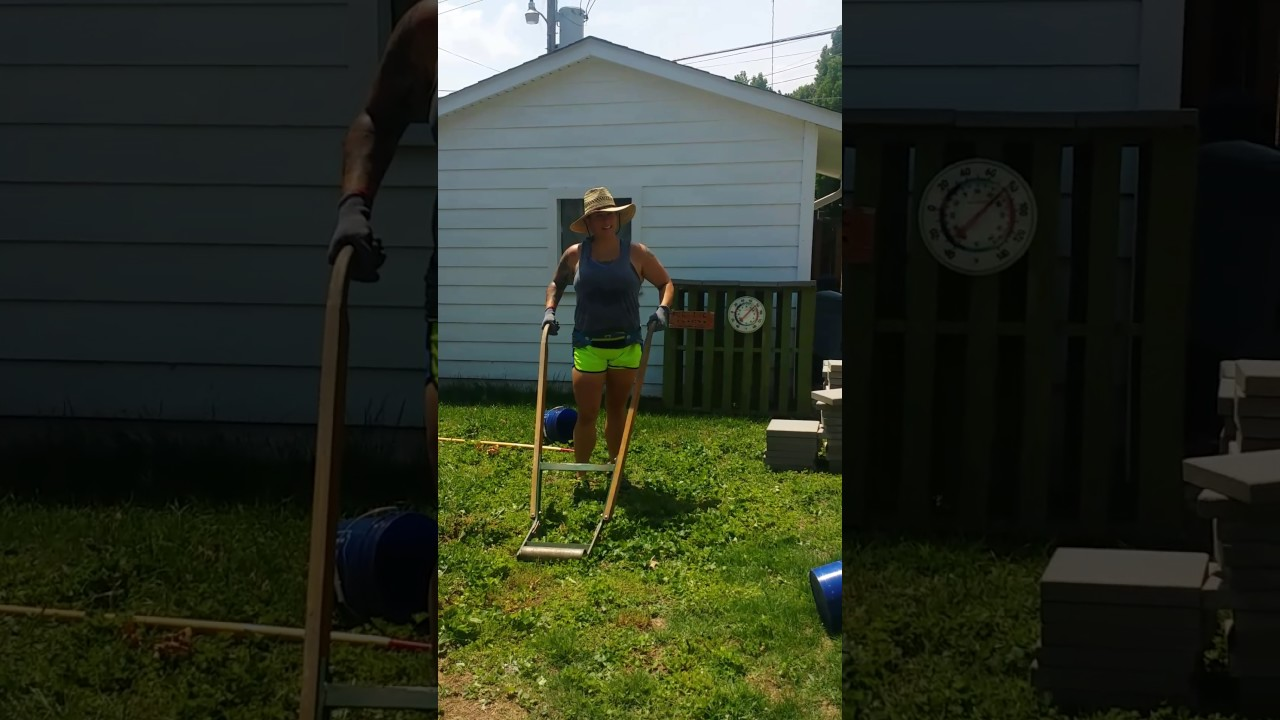 manual sod cutter ladies can do it too youtube
