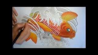 Koi Fish Painting (Pintura Carpa) tattoo style by NINA PAVIANI