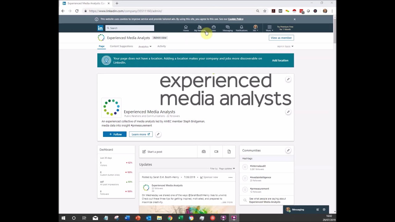 Exporting engagement data from LinkedIn