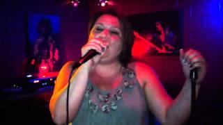 Christine singing Strawberry Wine  karaoke night