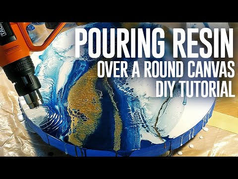 ENG | ABSTRACT RESIN'ART | resin pour on a Round canvas | MASTERCLASS |